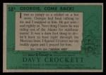 1956 Topps Davy Crockett #58 GRN Georgie Come Back  Back Thumbnail