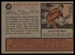 1962 Topps #100  Warren Spahn  Back Thumbnail
