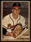 1962 Topps #100  Warren Spahn  Front Thumbnail