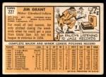 1963 Topps #227   Jim Mudcat Grant Back Thumbnail