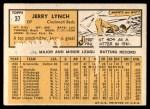 1963 Topps #37   Jerry Lynch Back Thumbnail