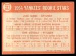 1964 Topps #281  Yankees Rookies  -  Jake Gibbs / Tom Metcalf Back Thumbnail