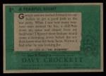 1956 Topps Davy Crockett #8 GRN Fearful Sight   Back Thumbnail