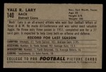 1952 Bowman Small #140  Yale Lary  Back Thumbnail