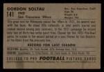 1952 Bowman Small #141   Gordon Soltau Back Thumbnail