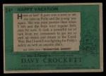 1956 Topps Davy Crockett #24 GRN  Happy Vacation  Back Thumbnail