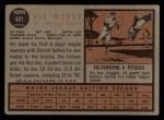 1962 Topps #481   Vic Wertz Back Thumbnail