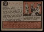 1962 Topps #124 GRN Bill Pleis  Back Thumbnail