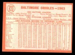 1964 Topps #473   Orioles Team Back Thumbnail