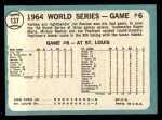 1965 Topps #137   -  Jim Bouton 1964 World Series - Game #6 - Bouton Wins Again Back Thumbnail