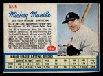 1962 Post Cereal #5 BB Mickey Mantle   Front Thumbnail