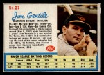 1962 Post Cereal #27 SL Jim Gentile   Front Thumbnail
