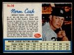 1962 Post Cereal #14 COR  Norm Cash Front Thumbnail