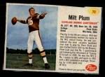 1962 Post #70  Milt Plum  Front Thumbnail
