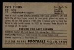 1952 Bowman Small #92  Pete Pihos  Back Thumbnail
