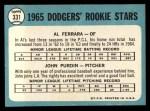 1965 Topps #331  Dodgers Rookies  -  Al Ferrara / John Purdin Back Thumbnail