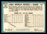 1965 Topps #133  1964 World Series - Game #2 - Stottlemyre Wins  -  Mel Stottlemyre Back Thumbnail