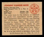 1950 Bowman #79  Johnny Vander Meer  Back Thumbnail