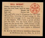 1950 Bowman #38  Bill Wight  Back Thumbnail