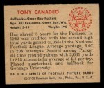 1950 Bowman #9  Tony Canadeo  Back Thumbnail