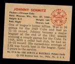 1950 Bowman #24   Johnny Schmitz Back Thumbnail