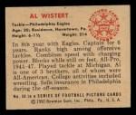 1950 Bowman #59  Al Wistert  Back Thumbnail