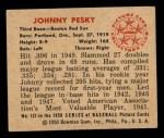 1950 Bowman #137   Johnny Pesky Back Thumbnail