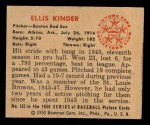 1950 Bowman #152  Ellis Kinder  Back Thumbnail