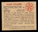 1950 Bowman #53  Clyde Vollmer  Back Thumbnail