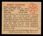 1950 Bowman #34  Murry Dickson  Back Thumbnail