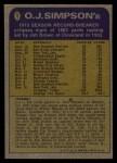 1974 Topps #1  Record Breaker  -  O.J. Simpson  Back Thumbnail