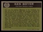 1961 Topps #573  All-Star  -  Ken Boyer Back Thumbnail