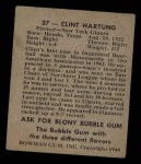 1948 Bowman #37   Clint Hartung Back Thumbnail