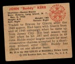 1950 Bowman #55   Buddy Kerr Back Thumbnail