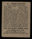 1948 Bowman #43  Bruce Edwards  Back Thumbnail