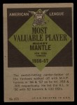 1961 Topps #475  Most Valuable Player  -  Mickey Mantle Back Thumbnail