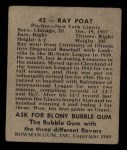 1948 Bowman #42  Ray Poat  Back Thumbnail