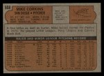 1972 Topps #608   Mike Corkins Back Thumbnail