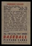 1951 Bowman #100  Sherm Lollar  Back Thumbnail