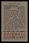 1951 Bowman #203   Vern Law Back Thumbnail