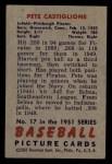 1951 Bowman #17  Pete Castiglione  Back Thumbnail