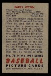 1951 Bowman #78  Early Wynn  Back Thumbnail