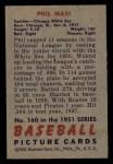 1951 Bowman #160   Phil Masi Back Thumbnail