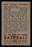 1951 Bowman #102  Dutch Leonard  Back Thumbnail