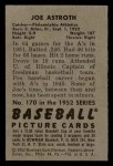 1952 Bowman #170   Joe Astroth Back Thumbnail