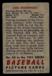 1951 Bowman #62   Lou Boudreau Back Thumbnail