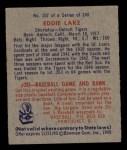 1949 Bowman #107  Eddie Lake  Back Thumbnail
