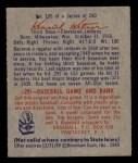 1949 Bowman #125   Ken Keltner Back Thumbnail