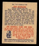 1949 Bowman #7  Joe Dobson  Back Thumbnail