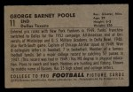 1952 Bowman Small #11   Barney Poole Back Thumbnail